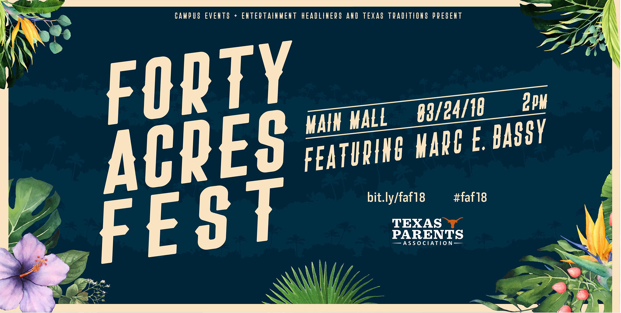 Forty Acres Fest advertisement with jungle theme