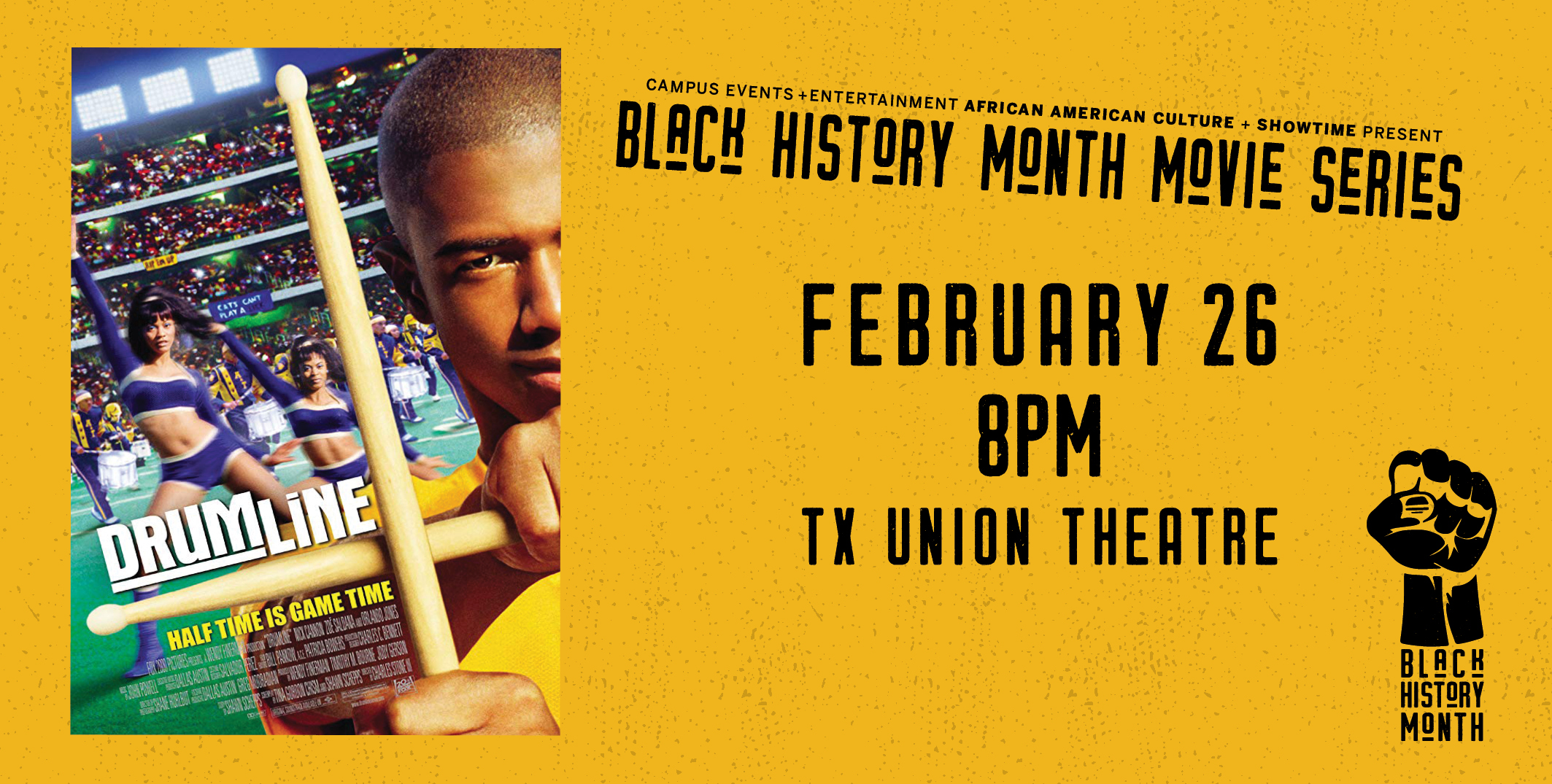 Black History Movie Series: Drumline February 26 8 pm Union Theater