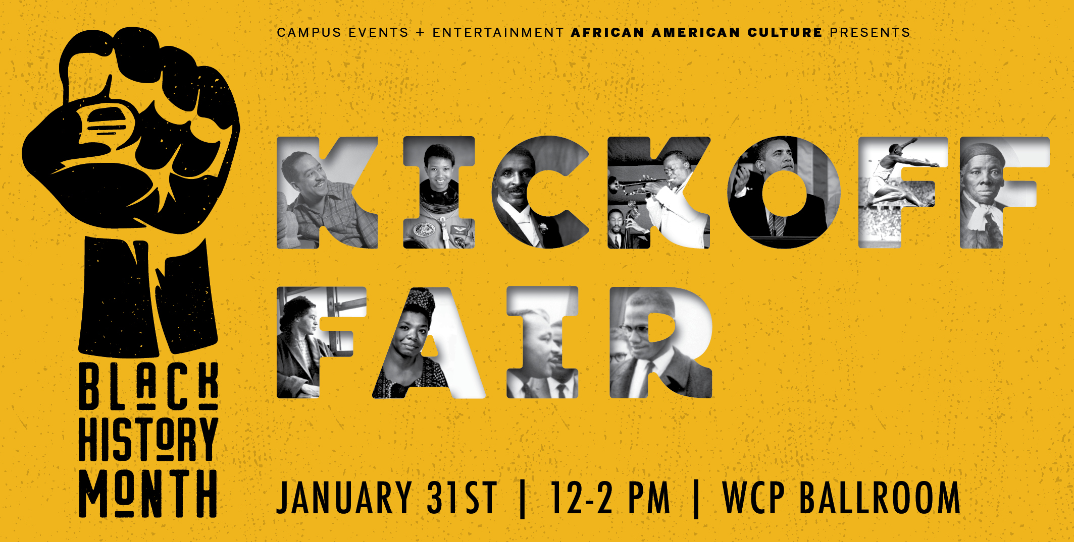 Black History Kickoff Fair will be in the WCP Ballroom