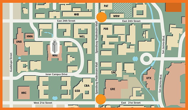 map of location of food trucks on campus