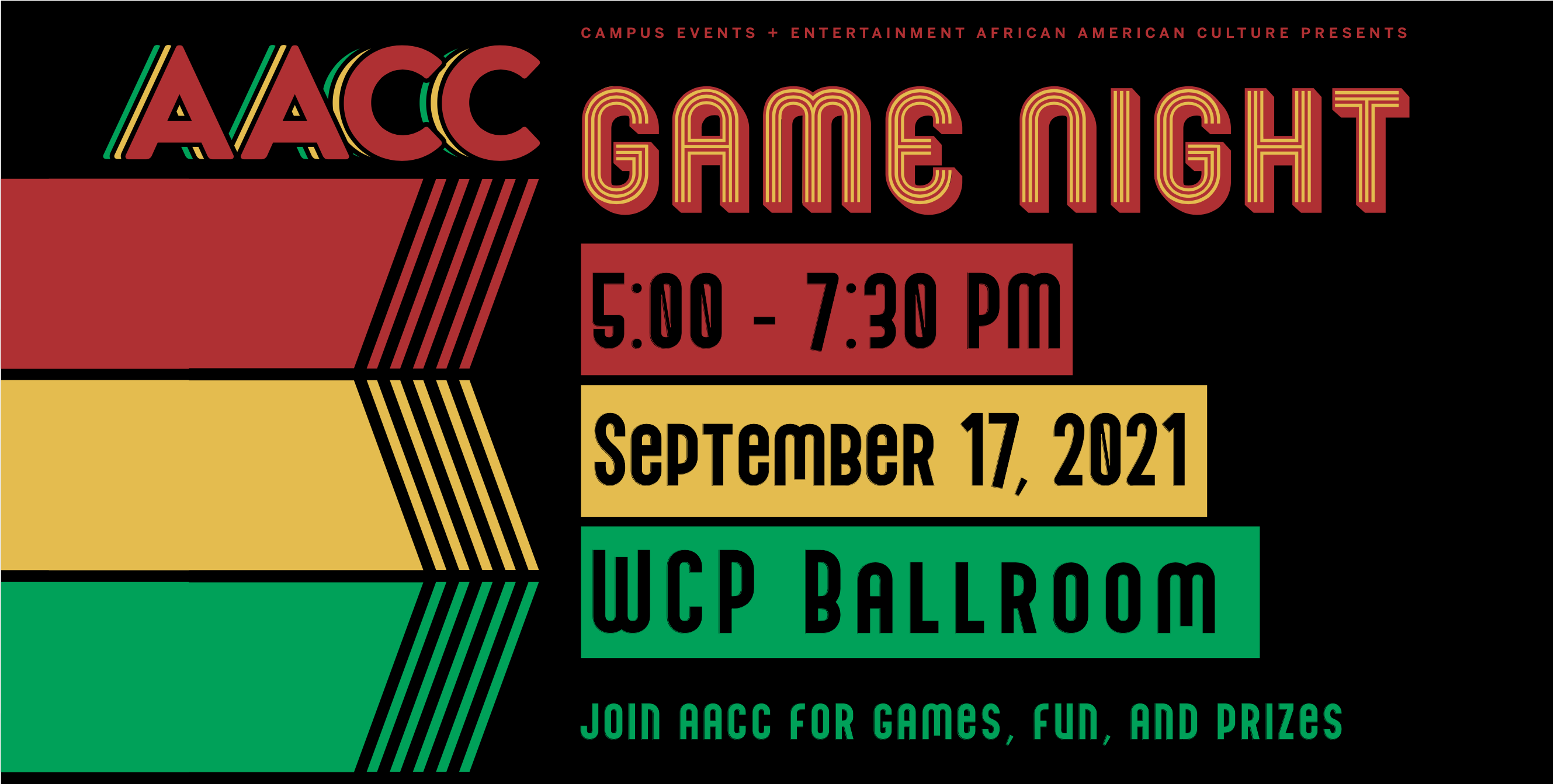 Graphic describing AACC's Game Night event, with event information listed in black, green, yellow, and red.