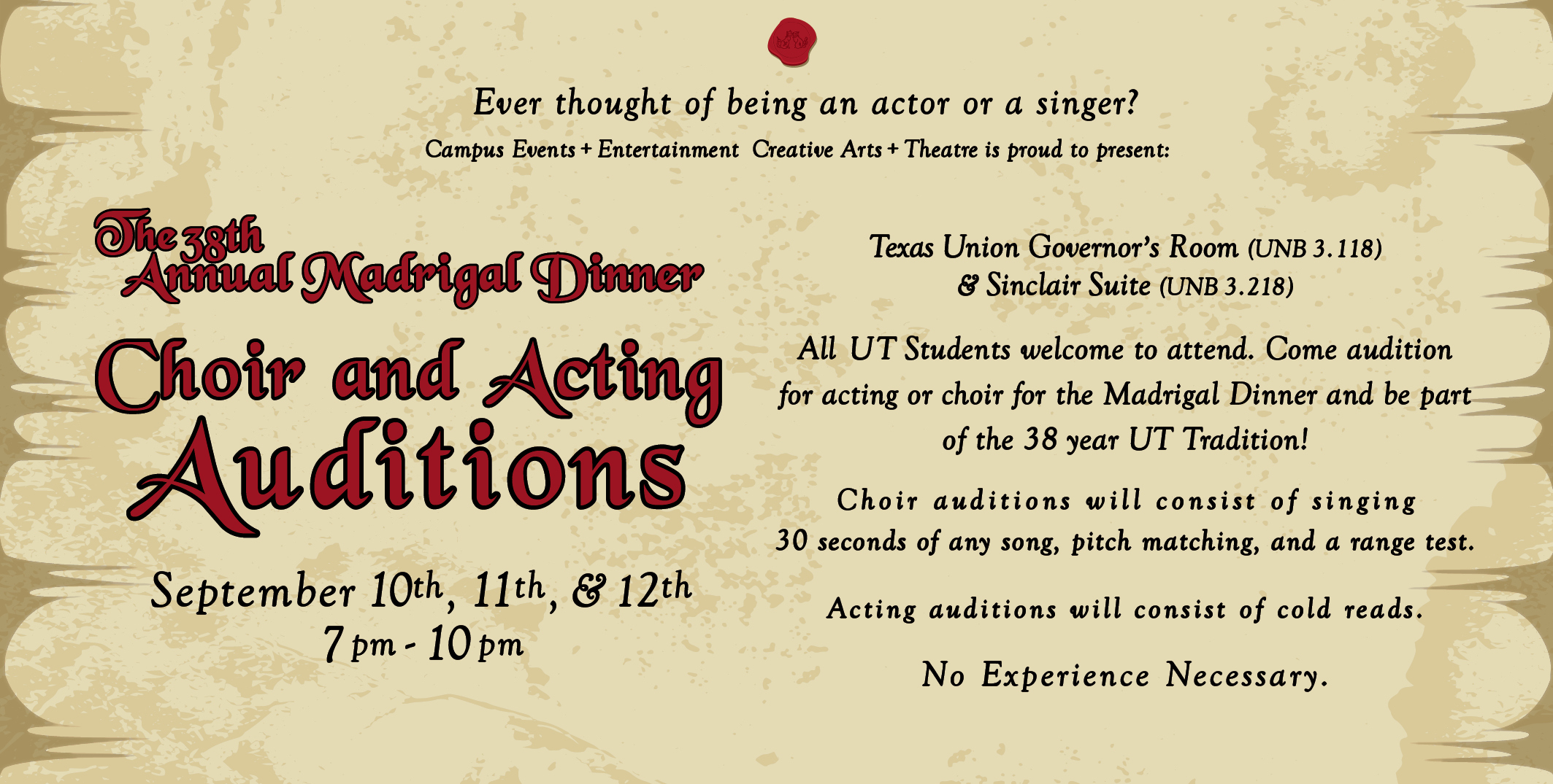 The 38th Annual Madrigal Dinner: Acting & Choir Auditions