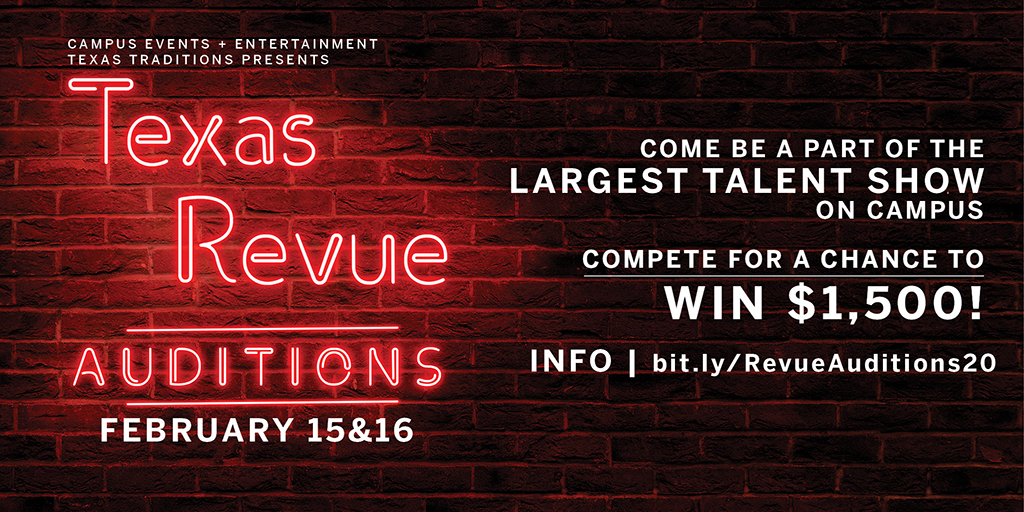 Texas Revue 2020 Auditions will be held Feb. 15 and 16