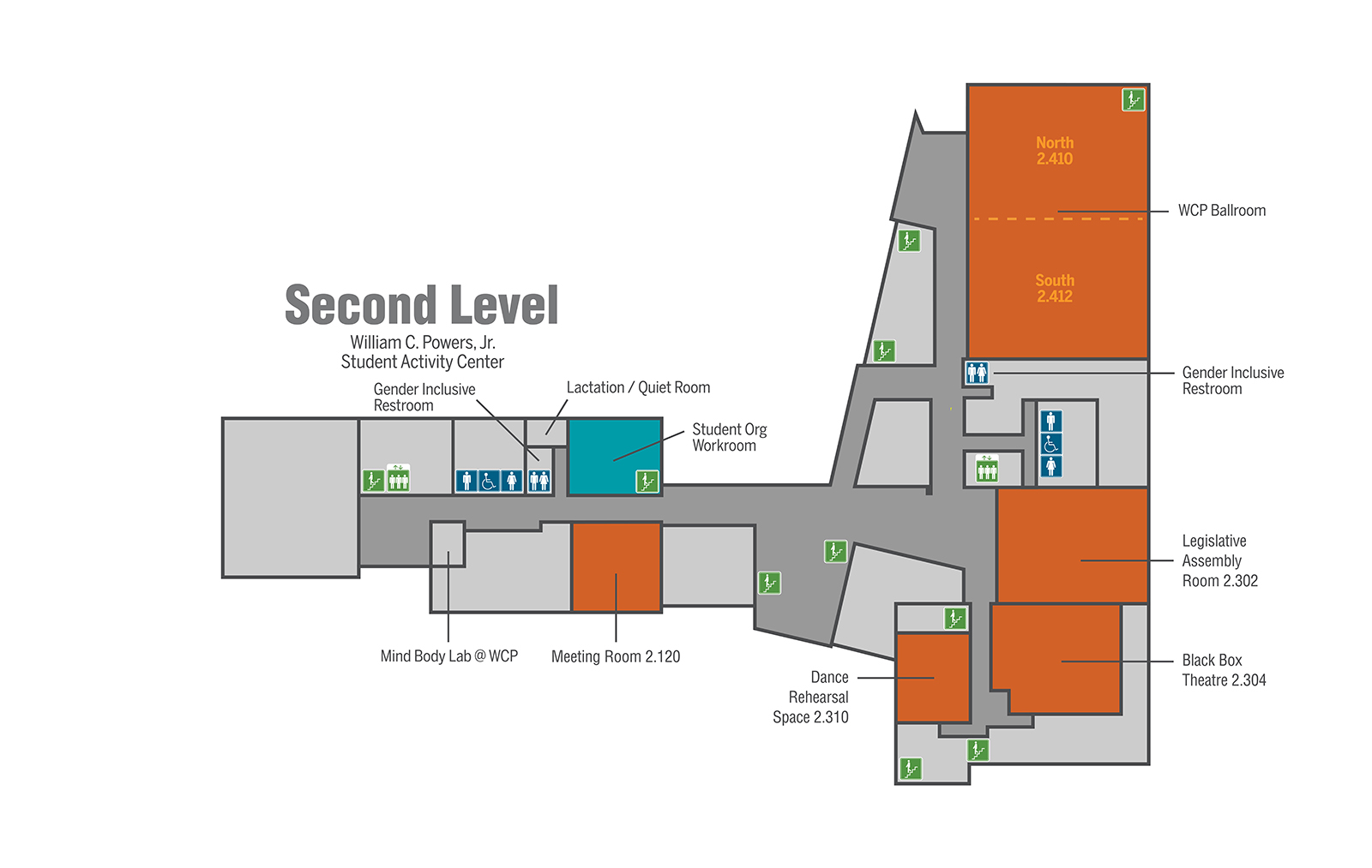 Generic map of William C. Powers, Jr. Student Activity Center second level.