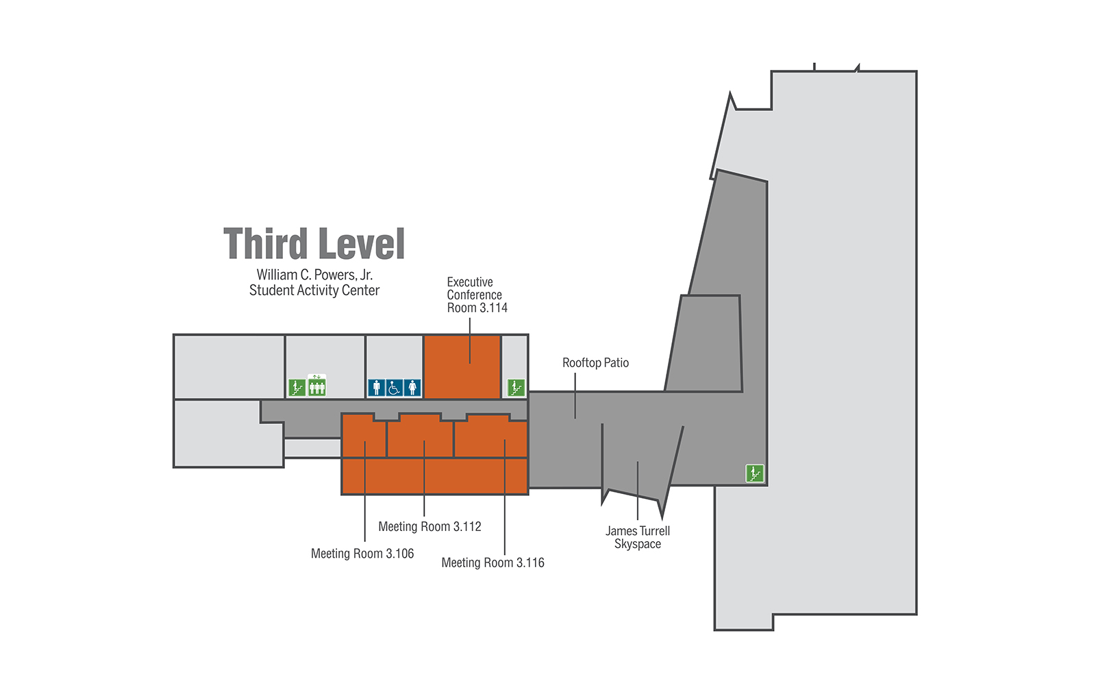 Generic map of Student Activity Center third level.