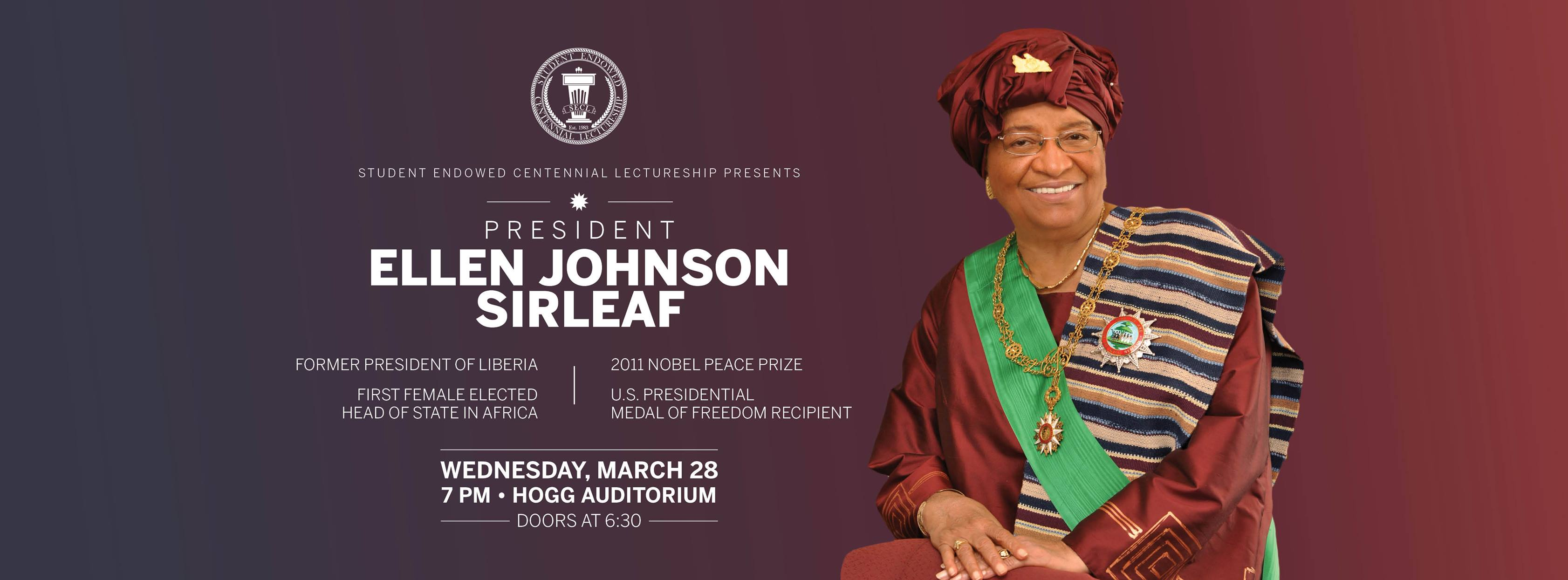 Image of President Sirleaf with event information
