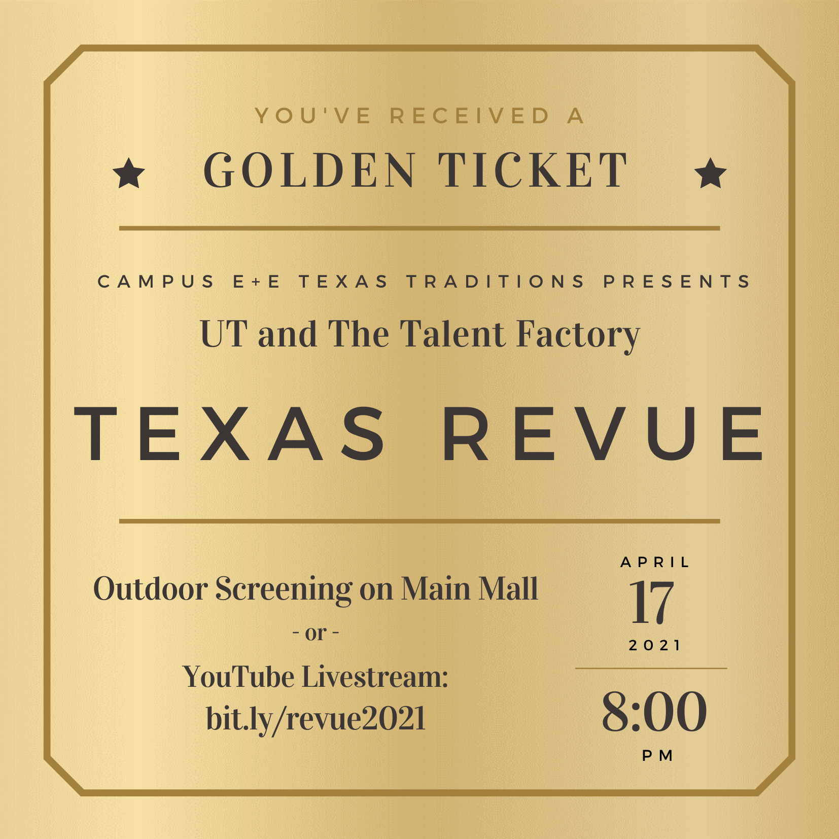 Image advertising Texas Revue on April 17