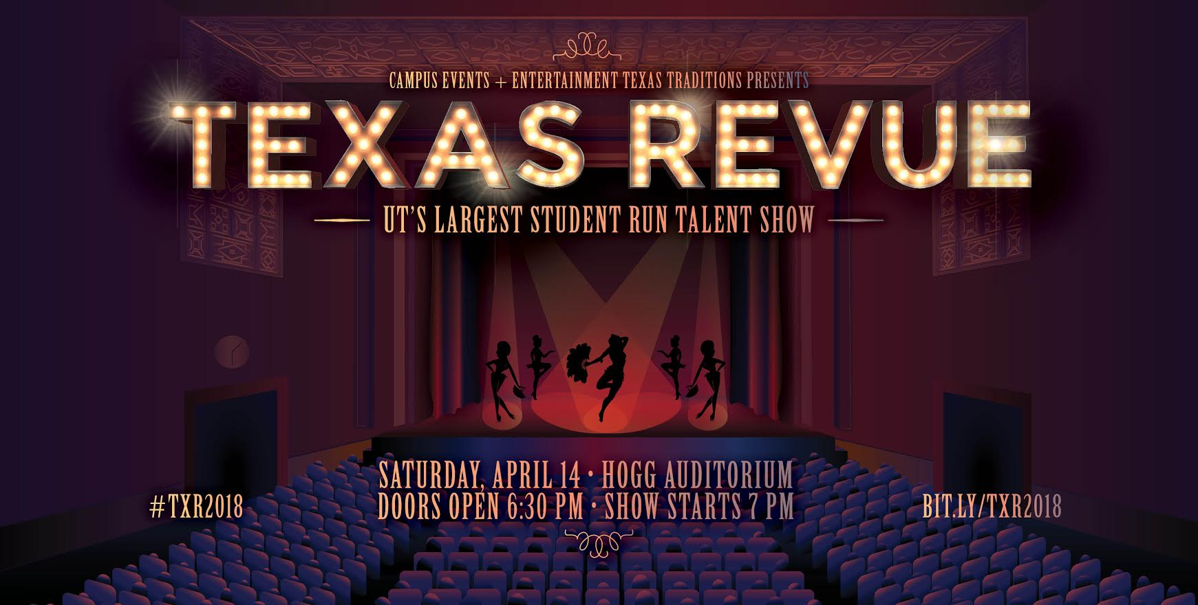 Advertisement for Texas Review featuring dancing silhouettes on a stage.