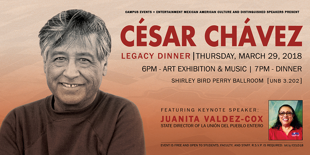 Advertisement for the dinner with Cesar Chavez picture