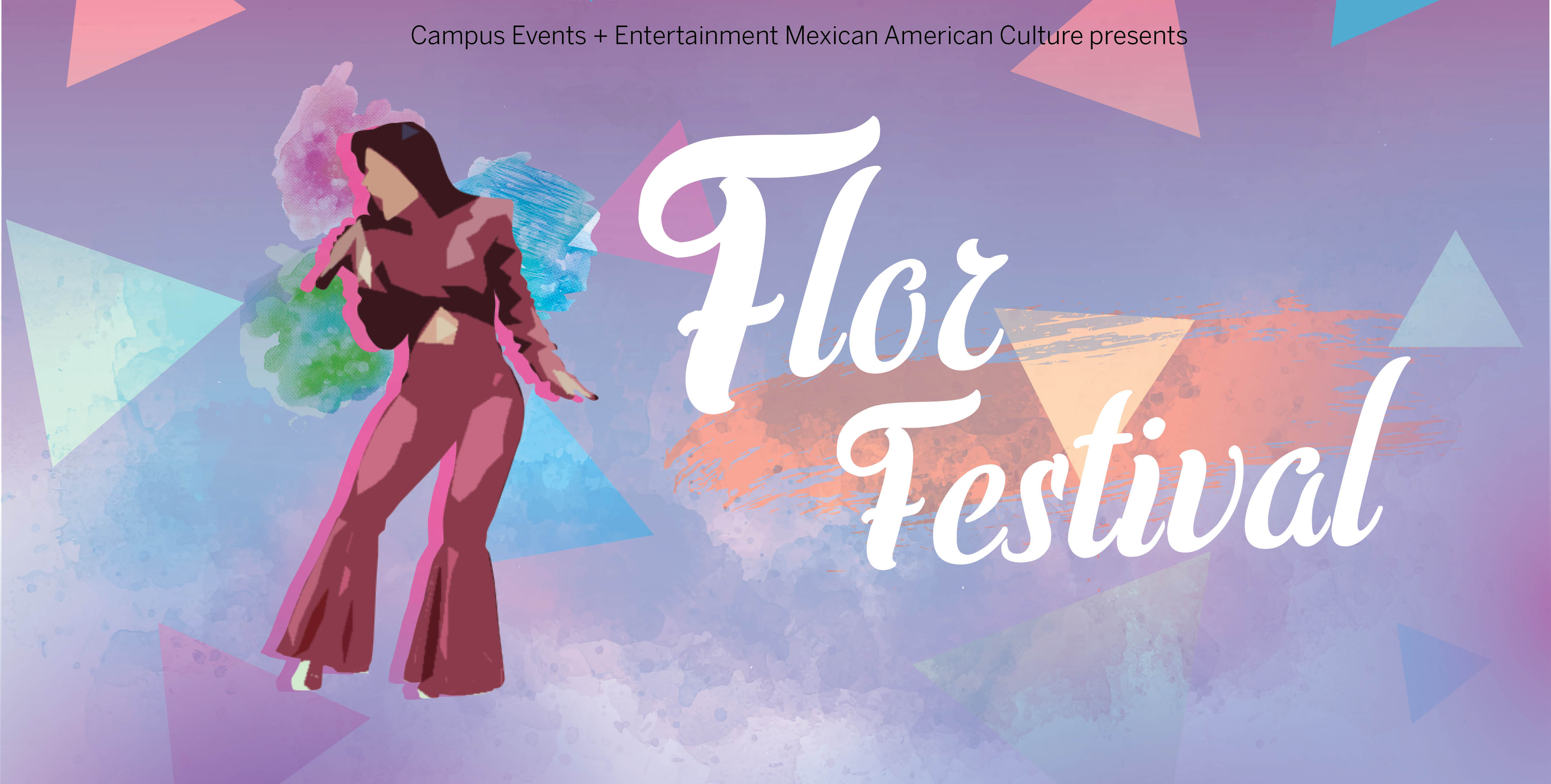 Colorful advertisement for Flor Festival with a picture of Selena