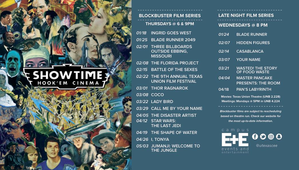 Spring 2018 Movie Lineup